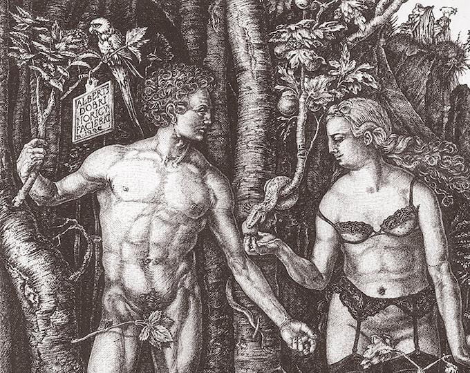 Fine Art Giclée Prints, antique, classic, vintage, surrealism, limited edition, Adam & Eve revisited (gray)