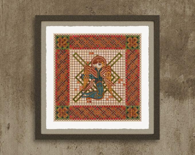 Fine Art Giclée Prints, The 4 Evangelist Symbols - inspired by the Book of Kells. Luke.