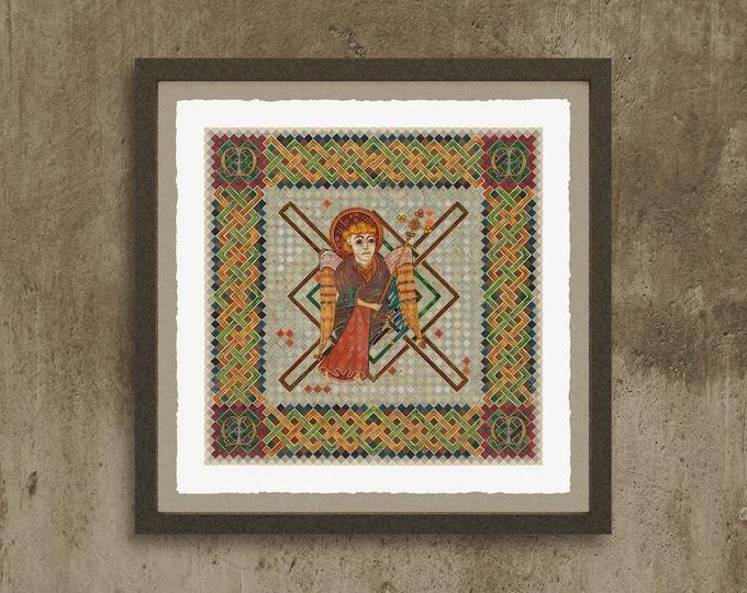 Fine Art Giclée Prints, The 4 Evangelist Symbols - inspired by the Book of Kells. Matthew.