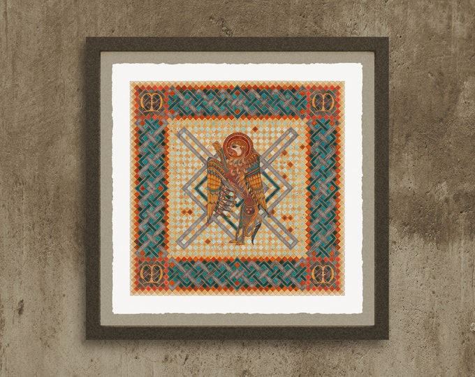 Fine Art Giclée Prints, The 4 Evangelist Symbols - inspired by the Book of Kells. Mark.