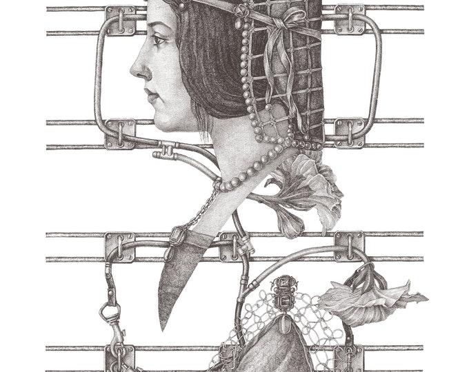 Fine Art Giclée Prints, antique, classic, vintage, surrealism, limited edition, Blue Velvet_1 (grey)