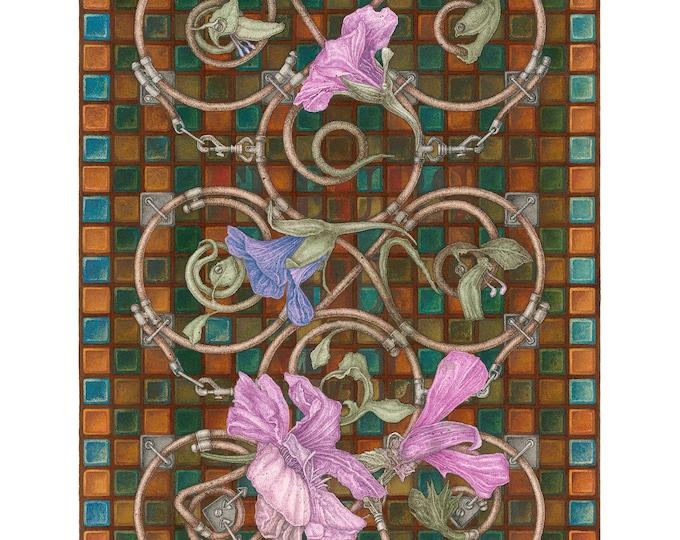 Acrylic / mixed media painting. Antique, Vintage, Classic, Surrealism, Baroque. Fleurs du Mal II [56 X 76 cm]