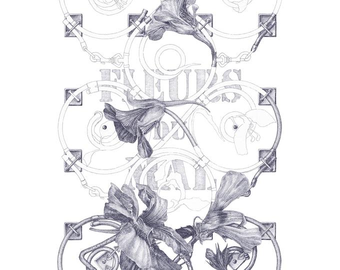 Fine Art Giclée Prints, Surrealism, Baroque, Vintage, Antique, Limited Edition, Fleurs de Mal I (indigo blue)(different sizes)