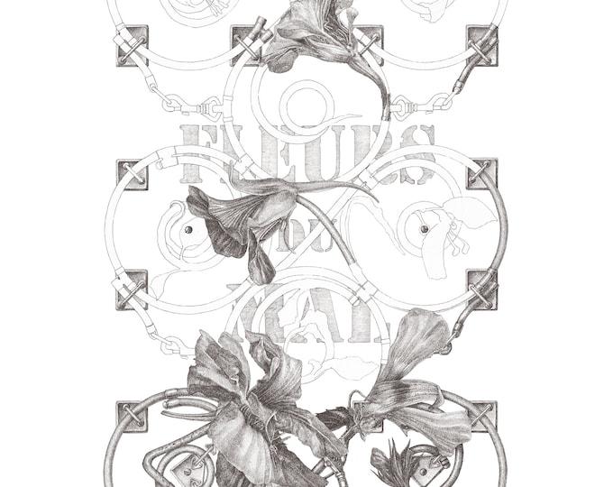 Fine Art Giclée Prints, Surrealism, Baroque, Vintage, Antique, Limited Edition, Fleurs de Mal I (grey) (different sizes)