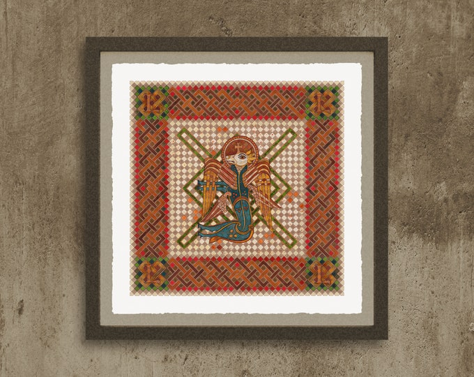 Fine Art Giclée Prints, The 4 Evangelist Symbols - inspired by the Book of Kells. Luke. (different sizes)