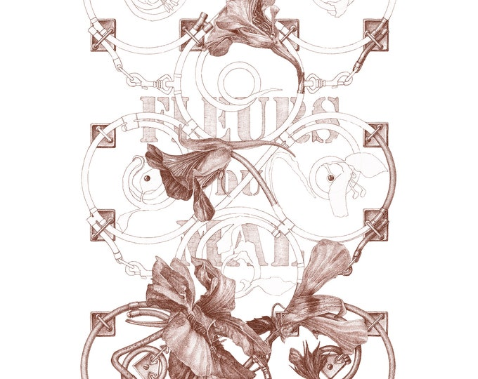 Fine Art Giclée Prints, Surrealism, Baroque, Vintage, Antique, Limited Edition, Fleurs de Mal I (red) (different sizes)