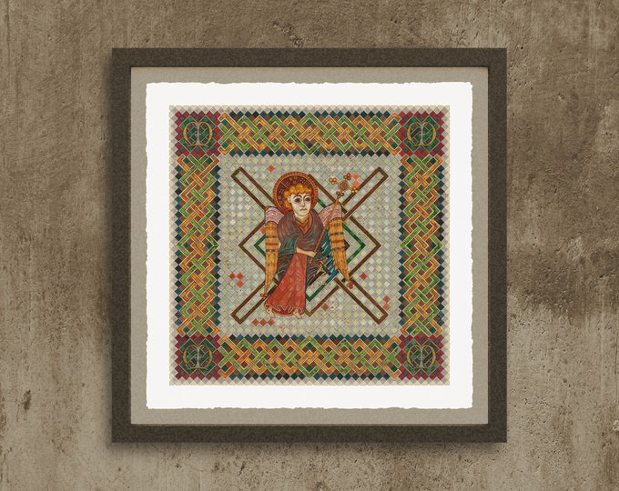 Fine Art Giclée Prints, The 4 Evangelist Symbols - inspired by the Book of Kells. Matthew. (different sizes)