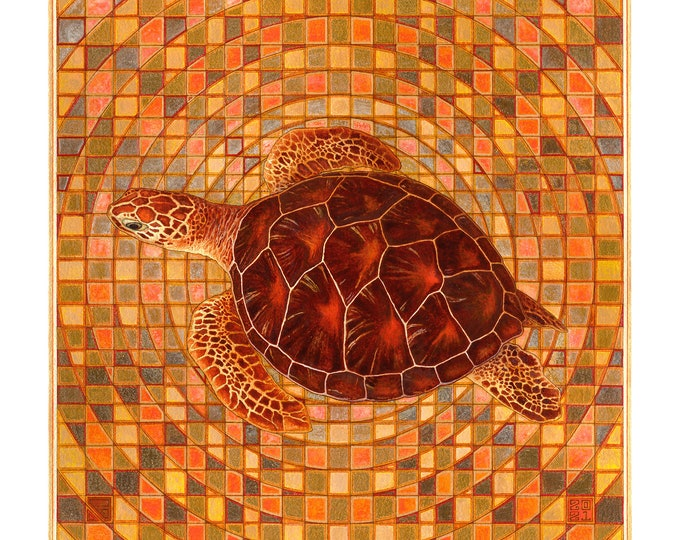 Fine Art Giclée Prints, Tortuga 1. (Custom made acrylic painting)(different sizes)