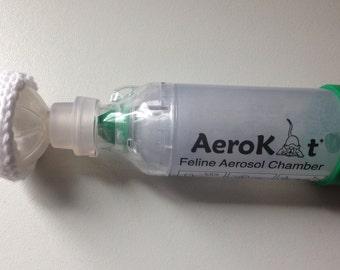 small aerokat feline asthma inhaler knit cover green etsy