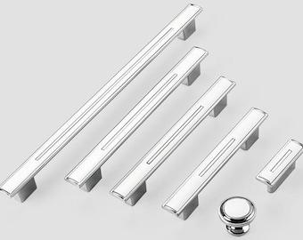 1.25'' 3.78'' 5'' 6.3'' 10'' Black White Chrome Kitchen Cabinet Door Handles Pulls Modern Drawer Pull Knobs Handles 32 96 128 160 256 mm