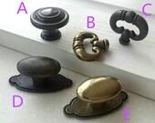 Vintage Style Drawer Knobs Pull Dresser Knob Ring Handles Oval Knob Kitchen Cabinet Door Pulls Dark Antique Bronze Back Plate HomewithLiving