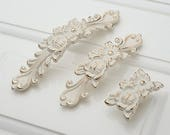 Shabby Chic Dresser Pulls Handles Drawer Knobs White Gold Silver French Country Kitchen Cabinet Handle Pull Antique Furniture Hardware