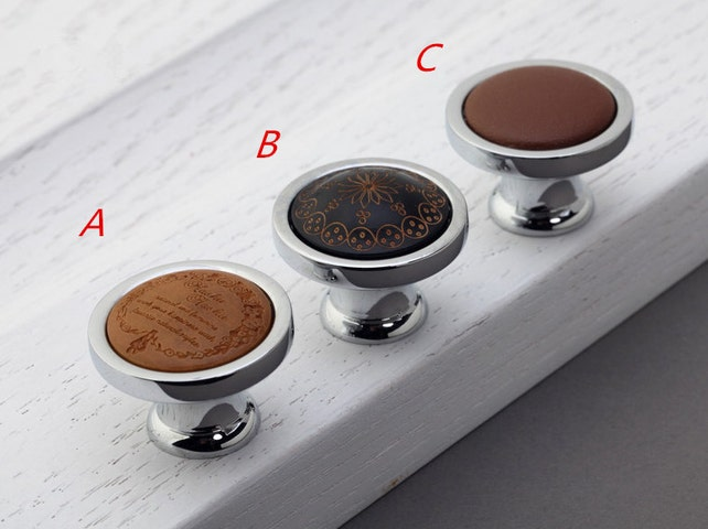 Holz Leder Knopf Schublade Knopf ziehen Griff Tür Knopf Griff | Etsy