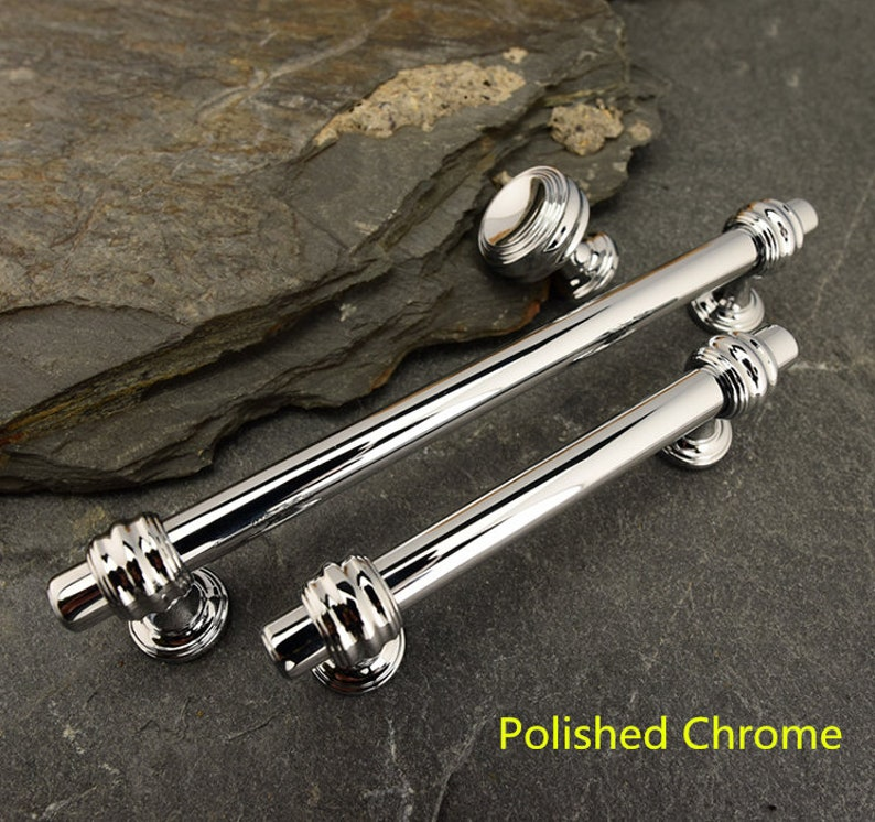 Jones /& Grey New York Style Polished Chrome Silver Door Handles Knobs on Back Plate