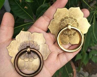 Antique Bronze Brass Drawer Pulls Handles Dresser Knob Back Plate Drop Ring Pull Drawer Knob Decor Kitchen Cabinet Hardware HomewithLiving