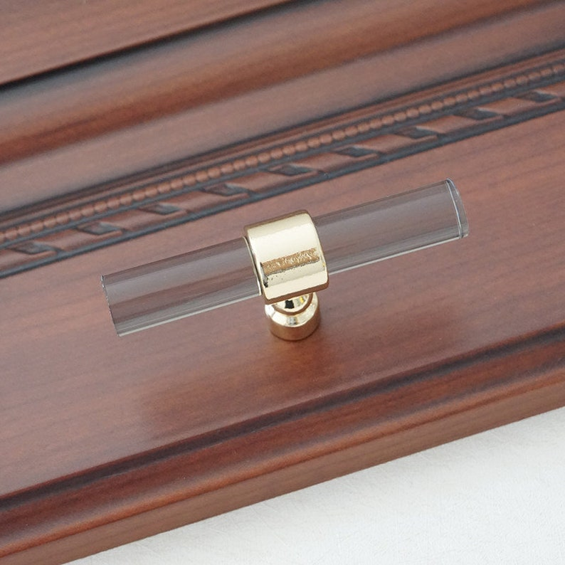 3.78 5 6.3 Lucite Smoke Gold Cabinet Handles Acrylic Dresser Pulls Drawer Knobs Pull Kitchen Pull Furniture Hardware Decor 96 128 160 mm