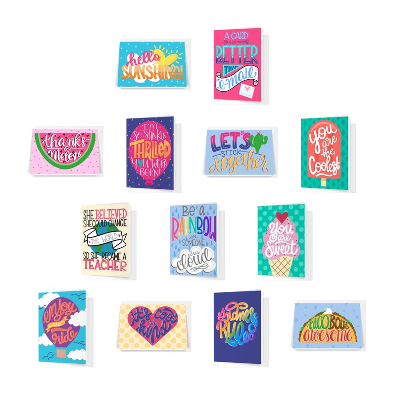 Folded Greeting Card Variety Pack Of 13 Thank You