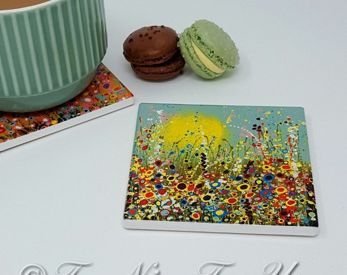 Original Design Ceramic Coaster with Art Print 'Spring in Bloom'