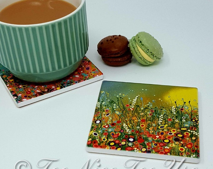 Original Design Ceramic Coaster with 'Bright & Beautiful' Art Print