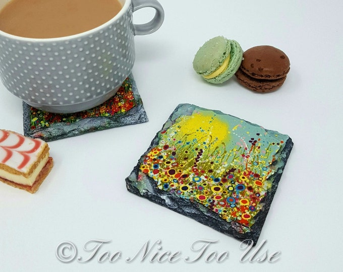 Slate Coaster with Original Art Design 'Spring In Bloom'
