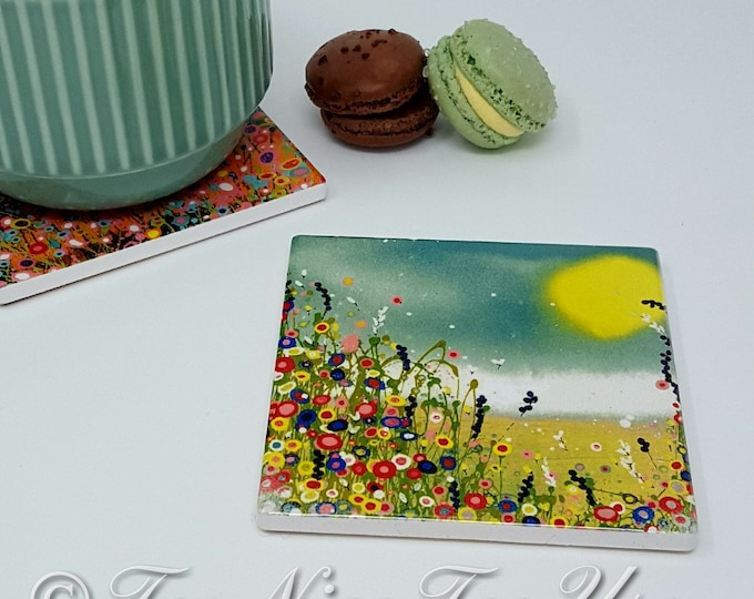 Original Design Ceramic Coaster with Art Print 'Holiday'