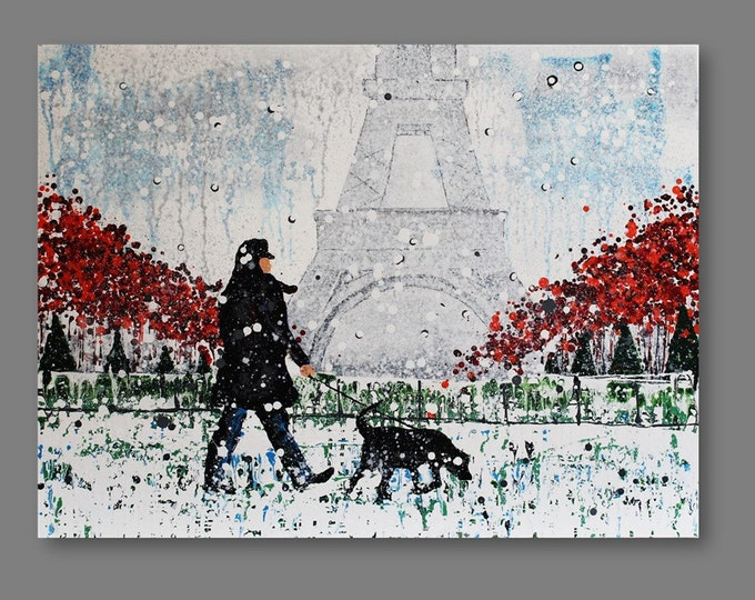 Paris In Snow, Dog. Original Painting