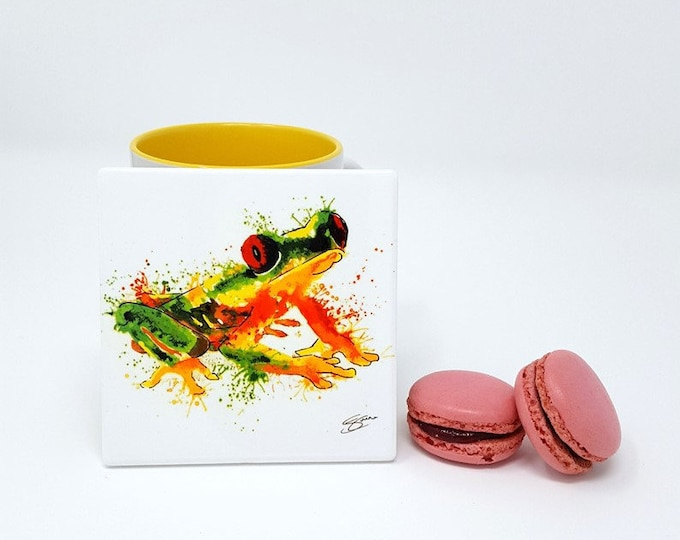 Original Design Ceramic Coaster with Frog Art Print.