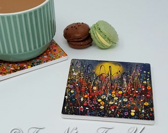 Original Design Single Ceramic Coaster With Art Print 'Daisy Dreams'