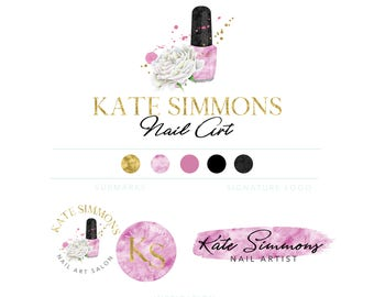 Nail Salon Gel Art Logo Branding Kit Nail Art Logo Nail Etsy