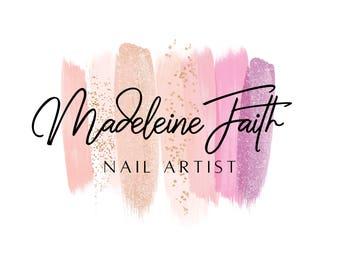 Nail Artist Logo Design Salon Gel Makeup Glitter Beauty Center Brushed