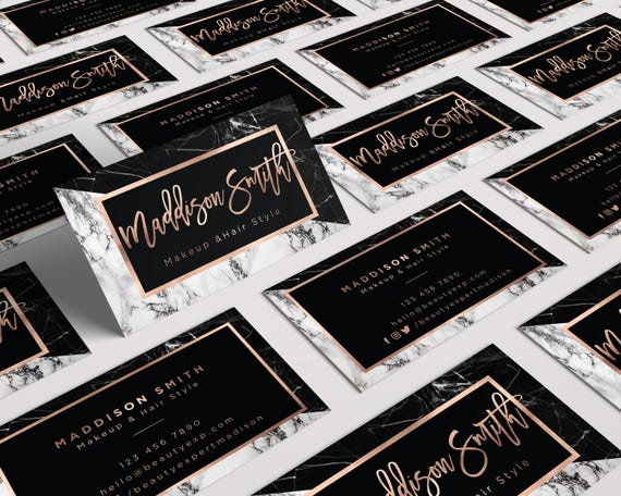Rose Gold Marble Makeup Artist Business Card Attention Digital Files Only Modern Printable Business Card Text Business Card