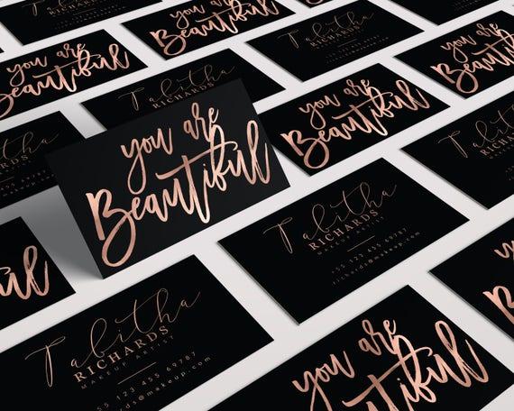 Elegant Makeup Artist Business Card Rose Gold Business Card Etsy
