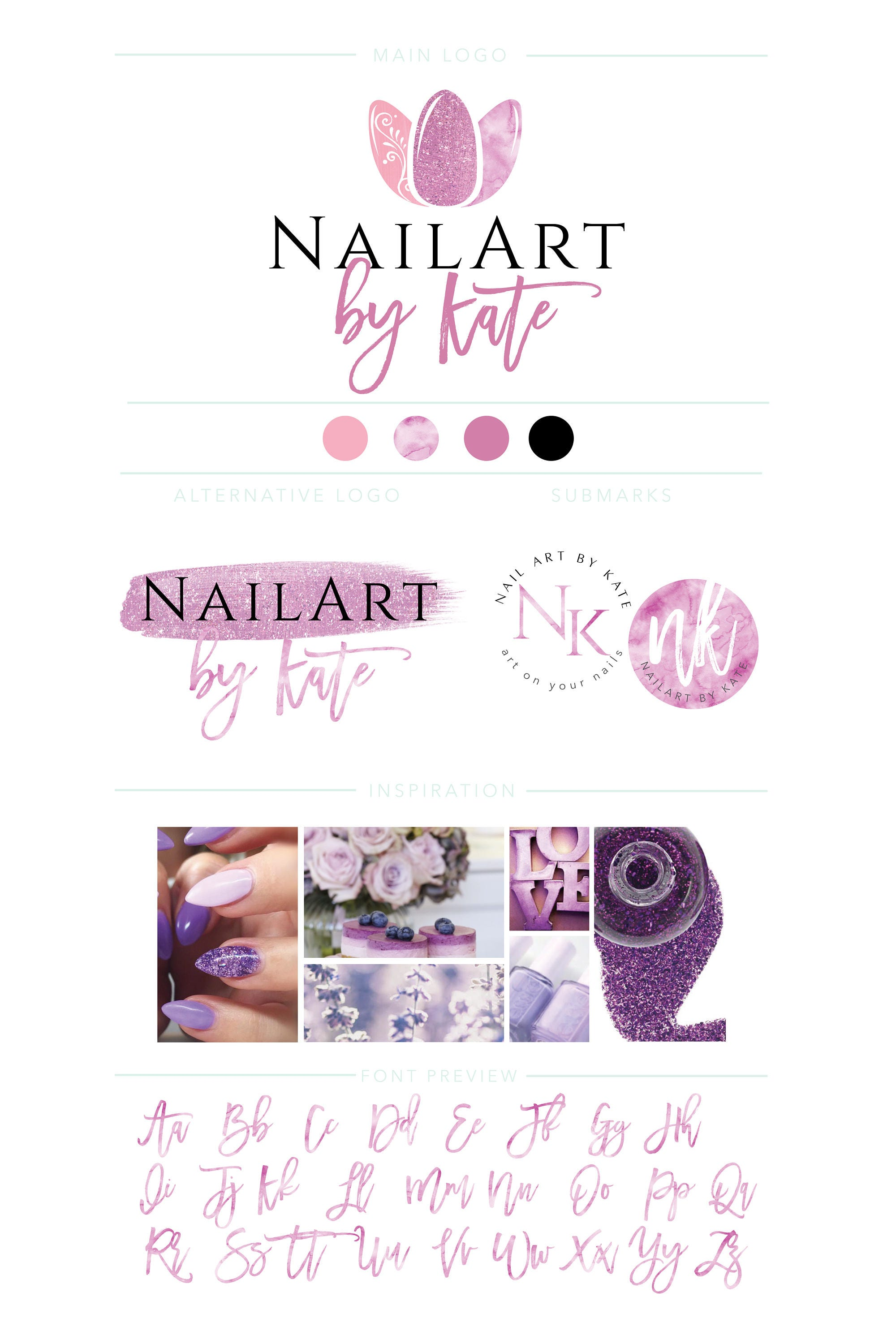 Nail Salon Gel Art Logo Branding Kit, Nail Art Logo, Nail Polish logo kit,  Nail Artist Logo, Watercolor Logo, Beauty Center, Nails Logo