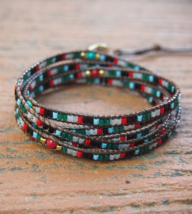 Beadwork bracelet Seed beaded Boho Wrap Bracelet Green mix Wrap bracelet