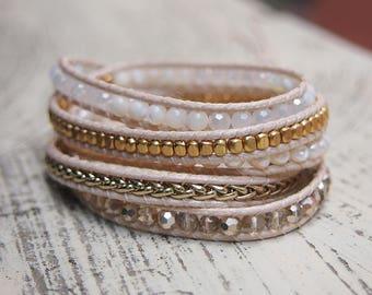 5 times Wrap Bracelet, White pearl mix, Boho bracelet, Beadwork bracelet • B60031-WHGO