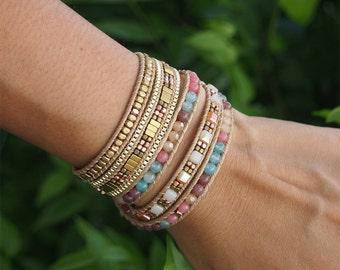 5 times Wrap Bracelet, Multi color beaded mix, Boho bracelet, Beadwork bracelet