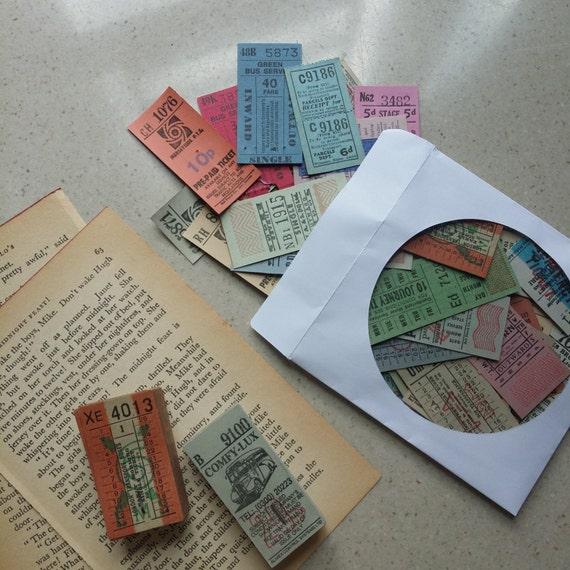 Assortiment de Vintage vieux britannique UK ultime billets unique billets Collage d'autobus - Collage billets et techniques mixtes, Sepia Vintage d25add