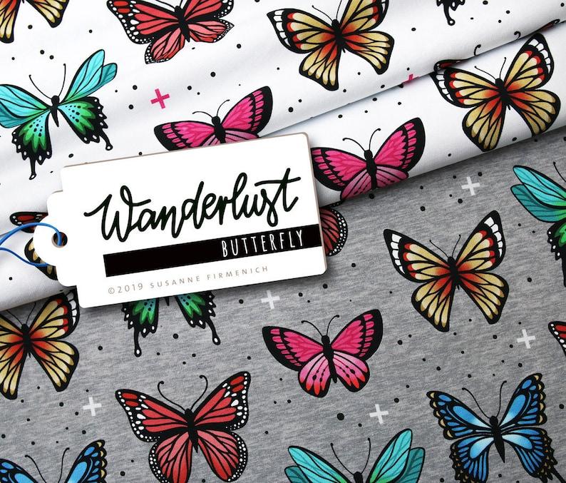 Wanderlust Butterfly Bio-JERSEY White Bunt Butterflies Hamburger Love Biostoff Biober Cotton kba GOTs Albstes