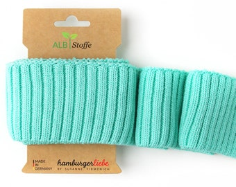 Cuff me cozy A70 Dino Mint Turquoise Organic cuffs Albstoffe hamburger love biocuffs this summer knit cuffs