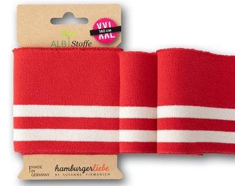 Cuff Me College 151 Striped Stripes Organic Cuffs Albstoffe Hamburger Love Life Loves You Bio Cuff Red Flame White