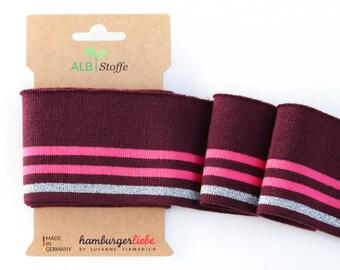 Cuff me glam col. 01 Bordeaux silver Pink Pink cuffs striped organic cuffs Albstoffe hamburger love biocuffs
