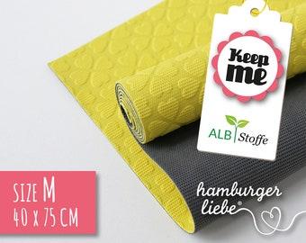 Keep Me M 40 x 75 cm yellow dark grey albstes-natural rubber antirug mat seatable detergents-vegan leather replacement