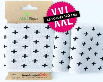Cuff me icon 18 organic cuffs Black white crosses plus Albstoffe hamburger Love mono biocuffs