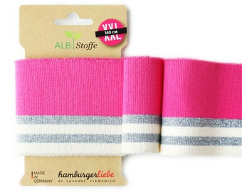 Cuff Me Glam 85 Glow Pink Pink White Silver Glitter Shiny Cuffs Organic Cuffs Albstoffe Hamburger Love Bio Cuffs