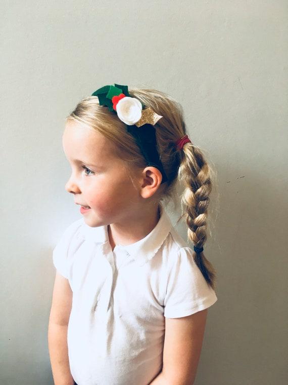 Personalised Velvet Hairbands Alice Bands//Christmas Headbands For Girls