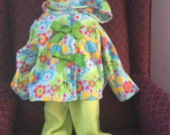 Green Flowered Pront Fleece Jacket with Green Pants
