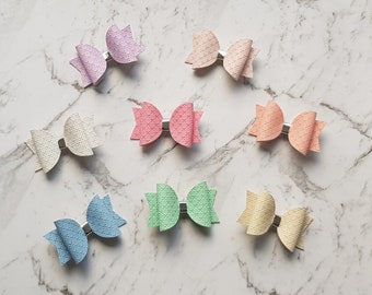 Pastel Faux Leather Bow | Hair Clips | Accessories |