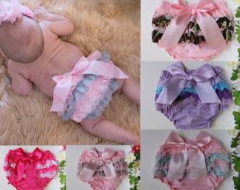 Newborn Baby Bloomers Girl Ruffle Diaper Nappy Cover Pants Petti Photo Prop