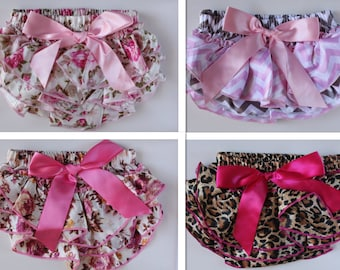 Newborn Baby Bloomers Girl Ruffle Diaper Nappy Cover Pants Floral Petti Photo Prop