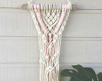 Small Macrame Wall Hanging - with Pink